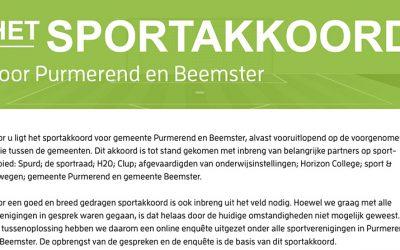 Sportakkoord voor gemeente Purmerend en Beemster 2020